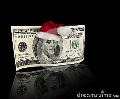 US One Hundred Dollar Bill Santa Hat