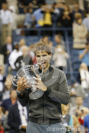 US Open 2013 champion Rafael Nadal holding US Open trophy during trophy presentation Editorial Image