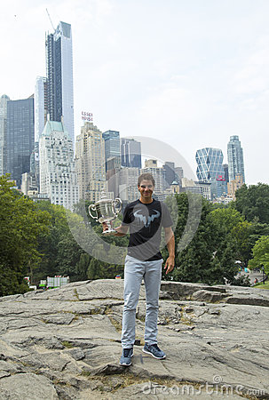 US Open 2013 champion Rafael Nadal posing with  US Open trophy in Central Park Editorial Photo