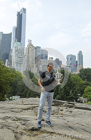 US Open 2013 champion Rafael Nadal posing with  US Open trophy in Central Park Editorial Image