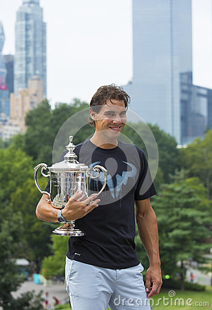 US Open 2013 champion Rafael Nadal posing with  US Open trophy in Central Park Editorial Stock Image