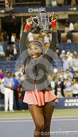US Open 2013 champion Serena Williams holding US Open trophy after her final match win  against Victoria Azarenka Editorial Photography