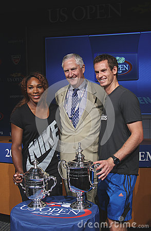 US Open 2012 champions Serena Williams and Andy Murray with USTA Executive Director Gordon Smith at the 2013 US Open Draw Ceremony Editorial Stock Image