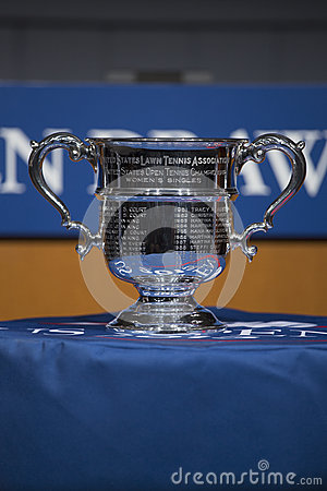 US Open Women singles trophy presented at the 2013 US Open Draw Ceremony Editorial Image