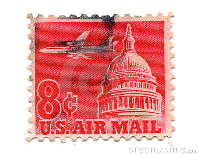 US postage stamp on white background