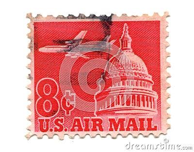 US postage stamp on white background