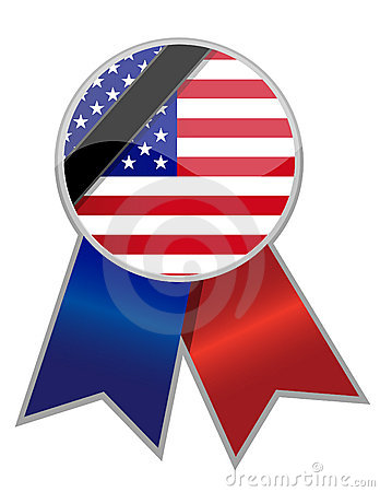 Us ribbon with memorial black stripe