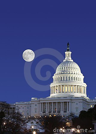 Free US Senate And Full Moon Stock Photos - 225353