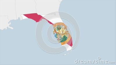 US State Florida map highlighted in Florida flag colors and pin of country capital Tallahassee. Map with neighboring States royalty free illustration