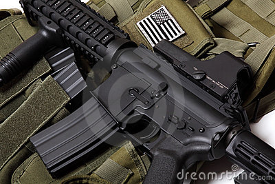 US tactical vest and carbine.