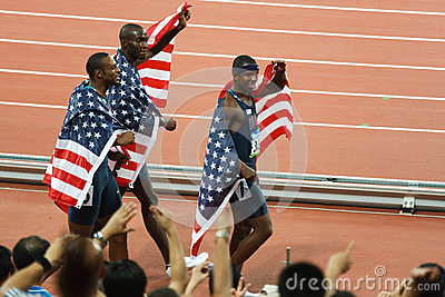 US TEAM victory lap for 400 meter hurdles. Editorial Photo