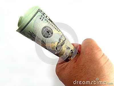 US Twenty Dollar Bills & Hand