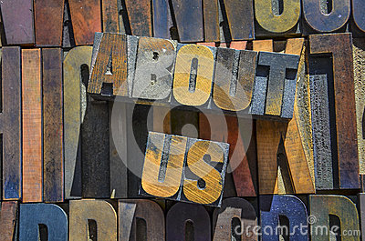 About Us Wooden typeset