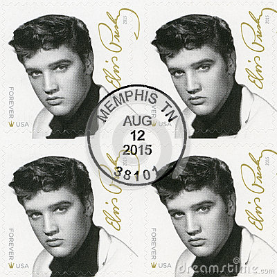 Free USA - 2015: Shows Elvis Presley 1935-1977, The Singer, Guitarist, Musician, Music Icons Series Royalty Free Stock Photos - 74608398
