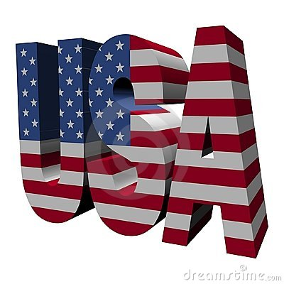 USA 3d text with American flag