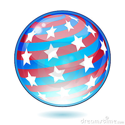 USA America shiny button flag