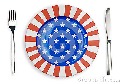 USA or American flag  plate, fork and knife top view