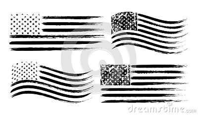 USA American grunge flag set, black isolated on white background, vector illustration. Vector Illustration