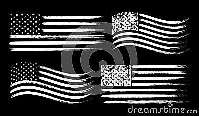 USA American grunge flag set, white isolated on black background, vector illustration. Vector Illustration