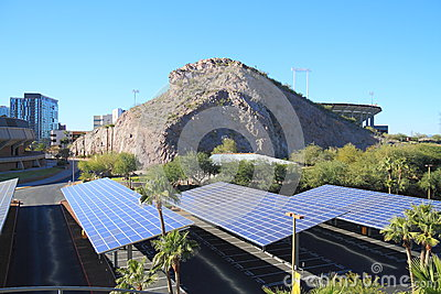 USA, AZ: Solar Panels as Roofs for a Parking Area Editorial Photo