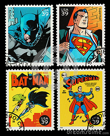 USA Batman and Superman Superheroes Postage Stamps Editorial Photography