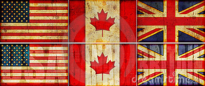 USA, Canada & Britain Grunge Flag Illustration Set