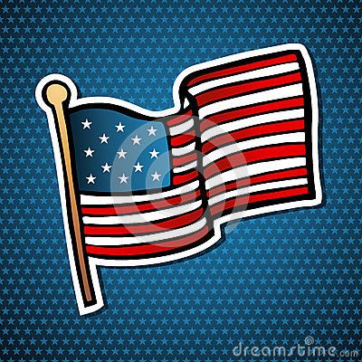 USA cartoon flag