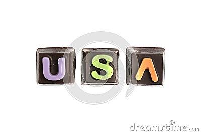 USA chocolate text