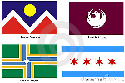USA city flags set