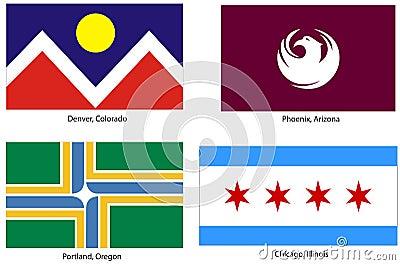 USA city flags set