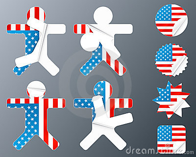 USA collection of peeling stickers
