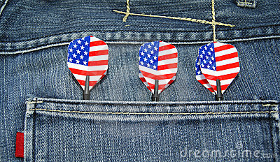 USA darts in jeans pocket