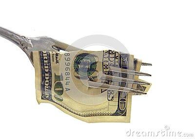 100 USA Dollars impaled on a fork - Isolated object on a white b