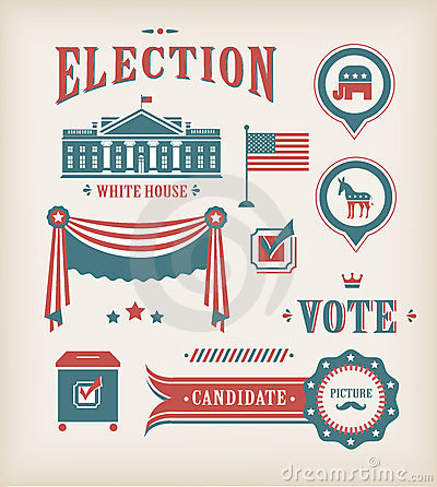 USA election icon set Editorial Stock Photo