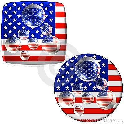 USA flag buttons with water