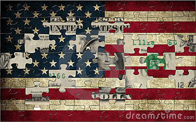 Usa flag and dollar