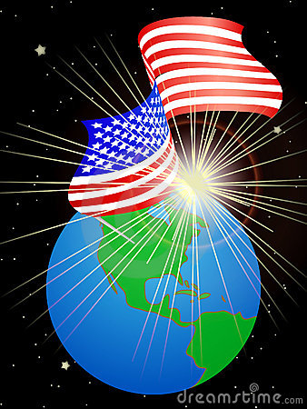 USA flag on the Earth