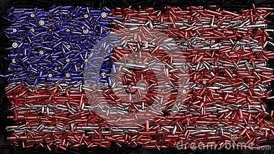 USA Flag formed out of bullets Cartoon Illustration