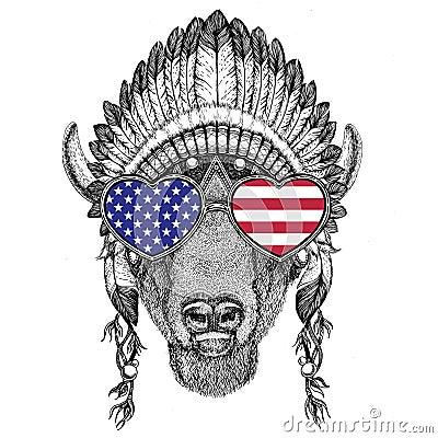 Free USA Flag Glasses Buffalo, Bison,ox, Bull Wild Animal Wearing Indian Hat Stock Image - 100180961