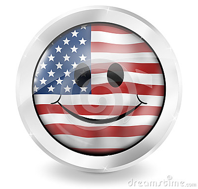 USA Flag Happy Icon Design
