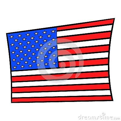 USA flag icon cartoon Vector Illustration