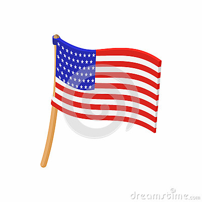 USA flag icon in cartoon style Vector Illustration