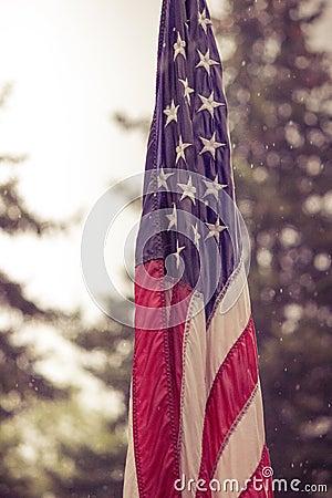 Free USA Flag In Rain Royalty Free Stock Image - 54365926