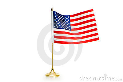 USA flag isolated on the white