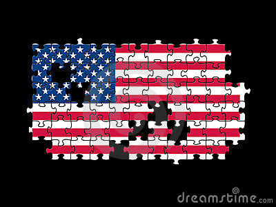 USA flag jigsaw