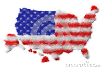 USA flag made from fur on map