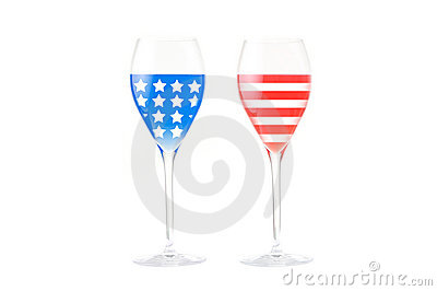 USA flag made with glasses