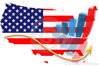 USA flag map and graph chart