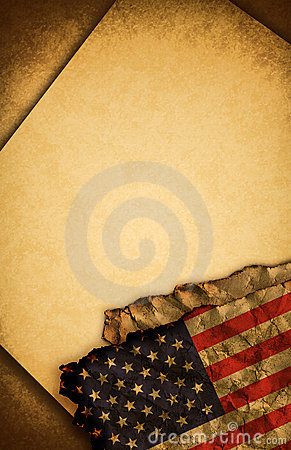 USA flag and old paper