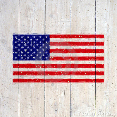 USA flag on old wooden wall